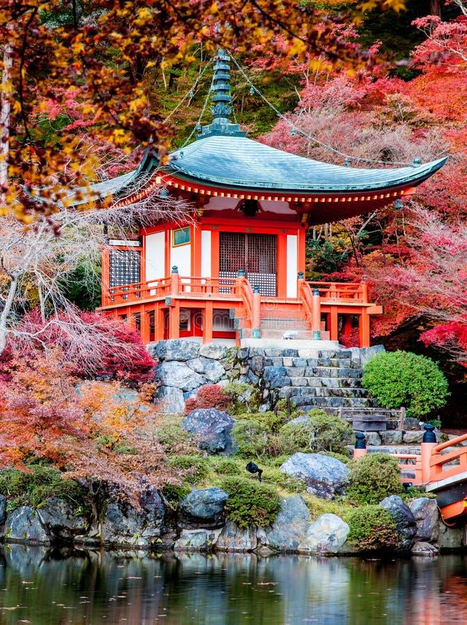 Jesień sezon urlop zmiany kolor czerwień w Tample Japan obrazy stock
