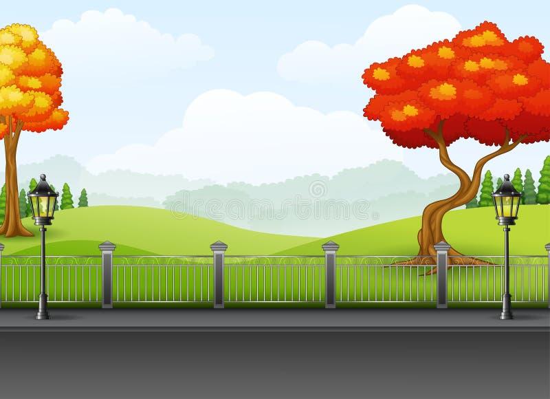 Jesień sezon z drogowym krajobrazowym tłem royalty ilustracja