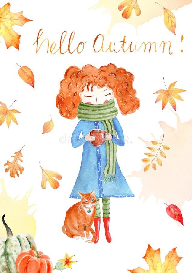 Jesień sezonu akwareli raster sztandar, kartka z pozdrowieniami szablon fotografia royalty free