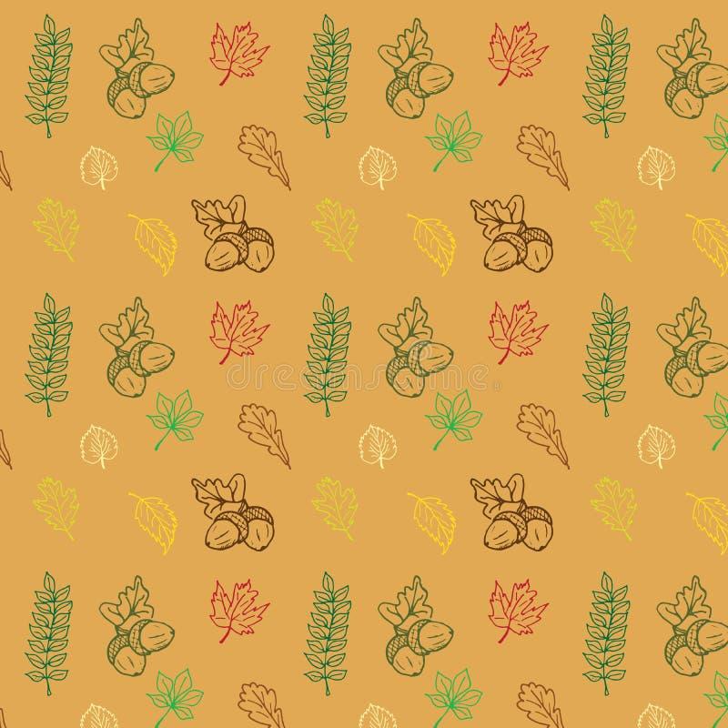 Jesień sezonu ręka rysujący Wektorowy bezszwowy wzór doodle leevs inkasowi royalty ilustracja