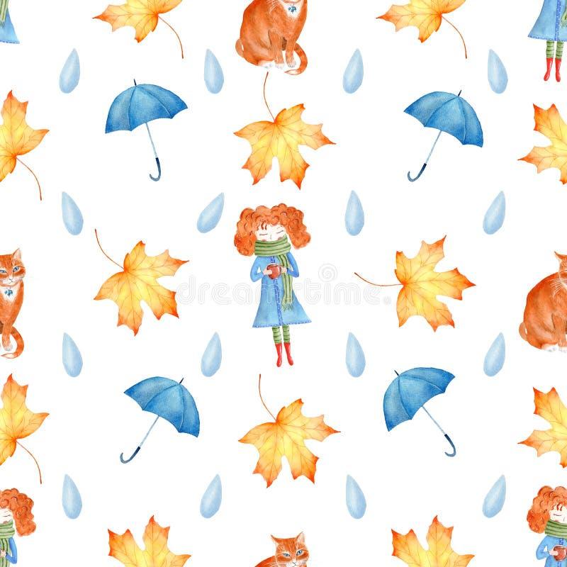 Jesień sezonu symboli/lów akwareli raster bezszwowy wzór zdjęcie royalty free