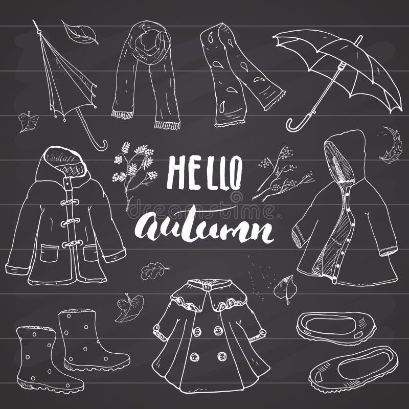 Jesień sezonu ubrania ustawiający Ręka rysująca literowanie wektoru ilustracja i doodles royalty ilustracja