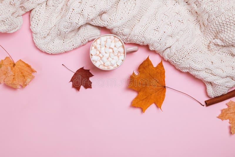 Jesień skład z trykotowym pulowerem, kakao z marshmallows i kolorem żółtym, opuszcza na różowym tle fotografia stock
