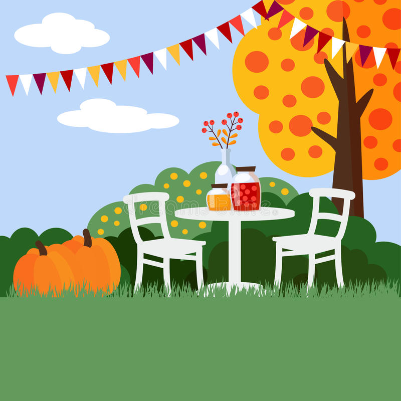 Jesień, spadku ogrodowego przyjęcia tło, płaski projekt, ilustracja wektor