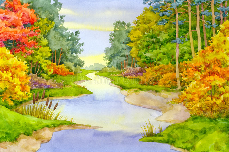 jesień strumyk royalty ilustracja