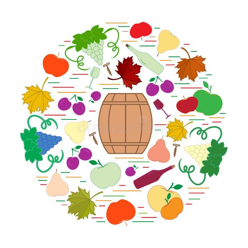 Jesień symbole w okręgu Baryłka, corkscrew, wina szkło, bonkreta, p royalty ilustracja