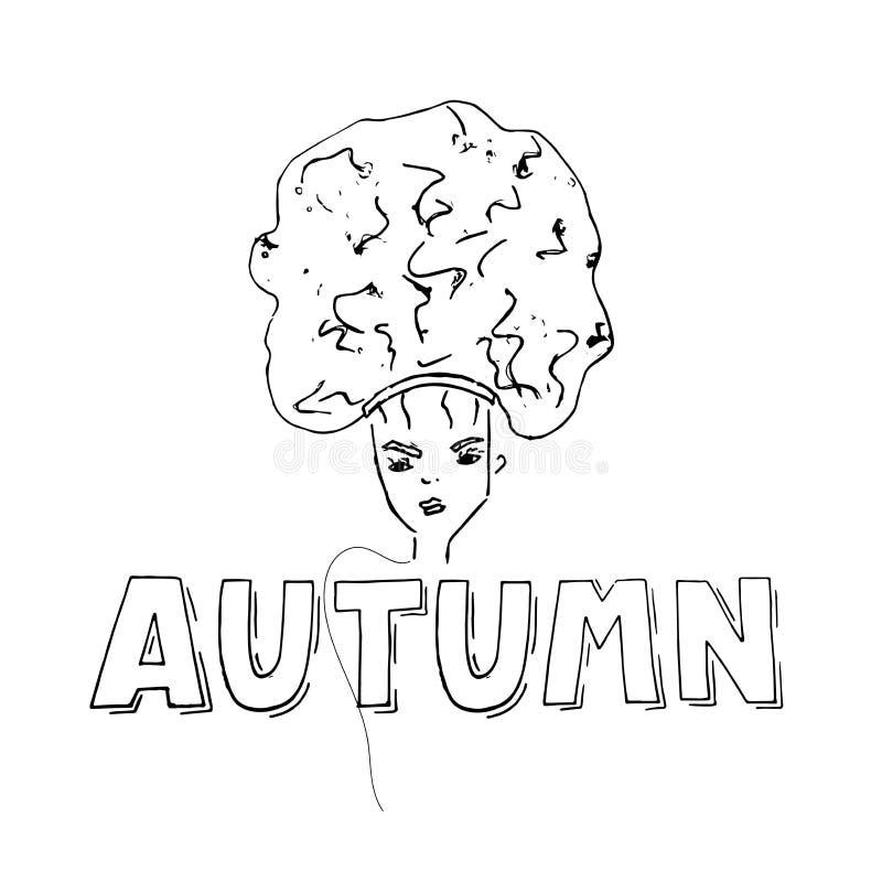 Jesień szablonu sztandar z kobietą na białym tle dla plakata, reklama, strona internetowa ilustracji