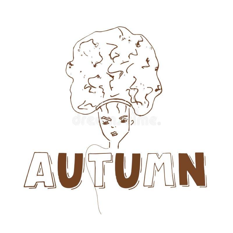 Jesień szablonu sztandar z kobietą na białym tle dla plakata, reklama, strona internetowa ilustracja wektor