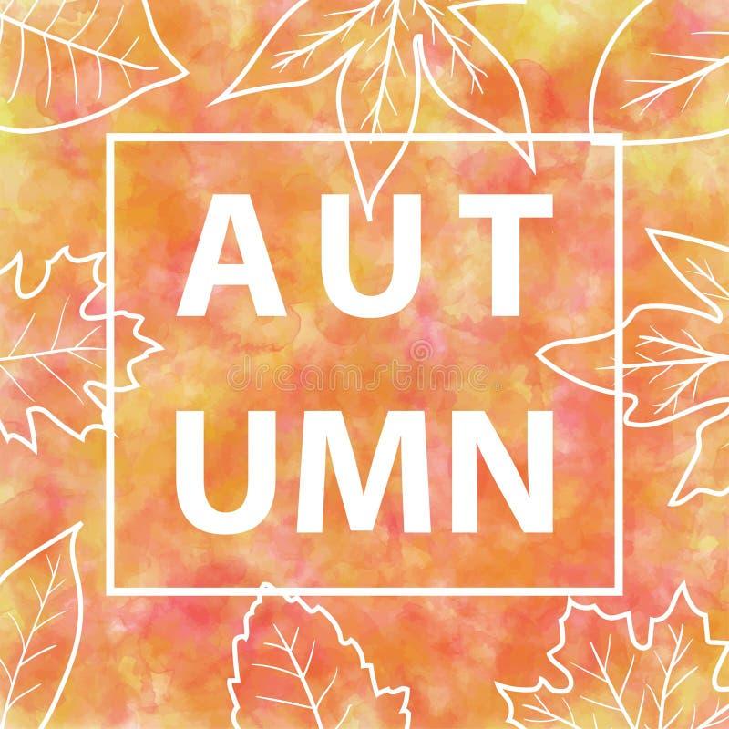 Jesień sztandar z akwareli tłem royalty ilustracja