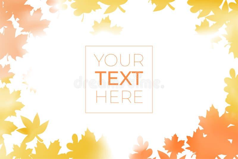 Jesień sztandar z liśćmi klonowymi z kopii przestrzenią Akwareli pomarańcze rama na odosobnionym przejrzystym tle Wektorowy Illus ilustracji