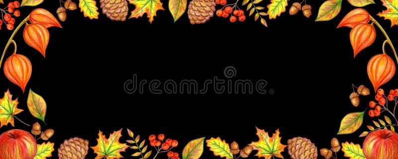 Jesień sztandaru czerń ilustracji