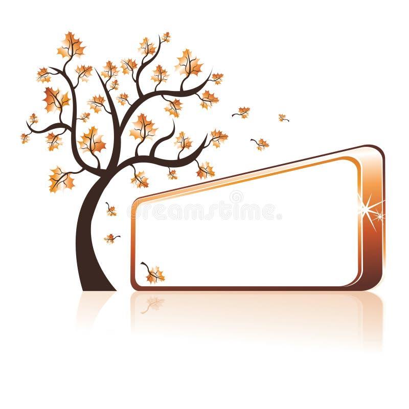 jesień sztandaru drzewo royalty ilustracja