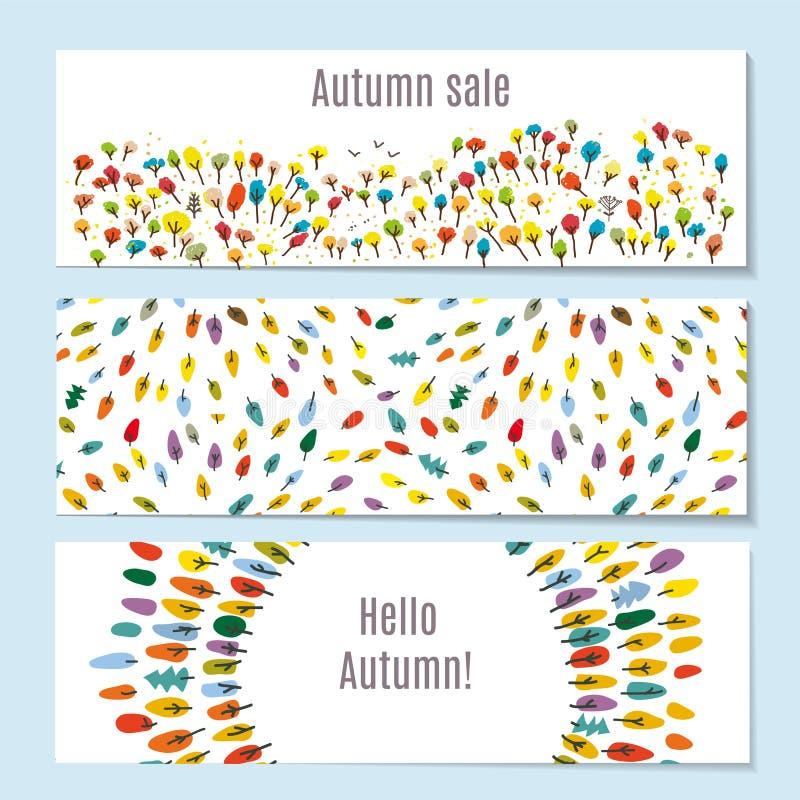 Jesień sztandary ustawiający z lasem, park, opuszczają również zwrócić corel ilustracji wektora royalty ilustracja