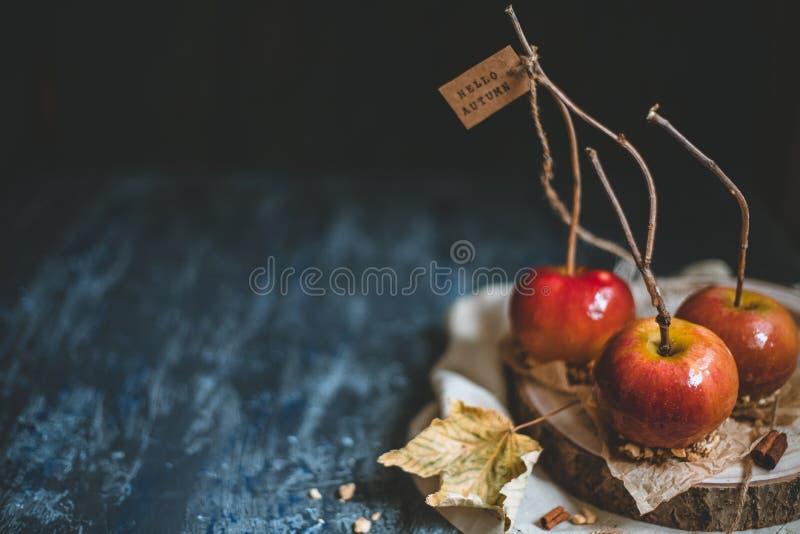 jesień tła kopii przestrzeń Staromodni karmel jabłka z gałązka kijami Cześć jesień zdjęcie stock