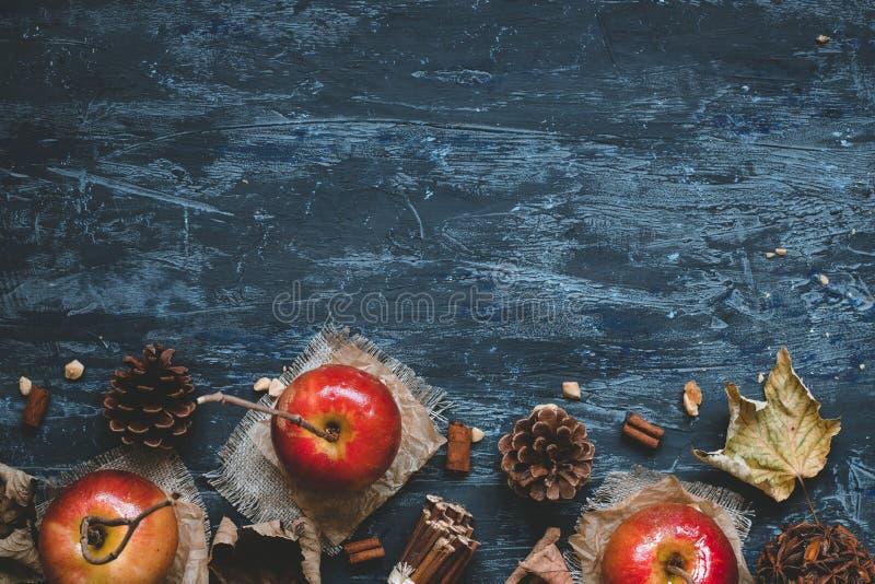 jesień tła kopii przestrzeń Wyśmienicie karmel jabłka z jesieni dekoracją, odgórny widok fotografia royalty free