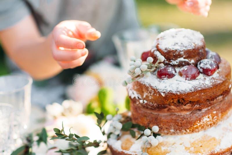 Jesień tort z kasztan dekoracją obrazy stock