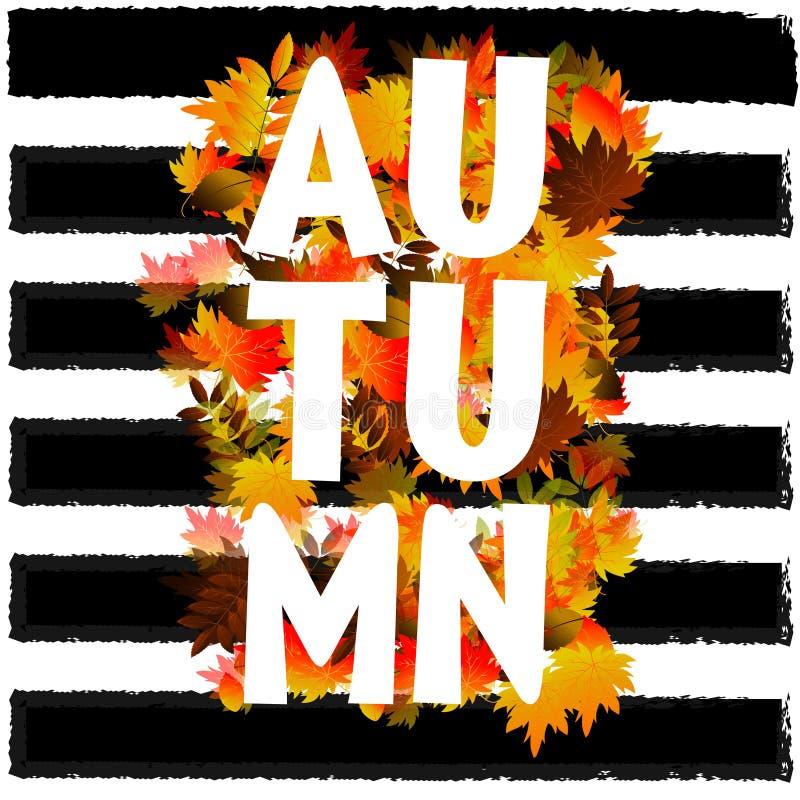 Jesień typograficzna Spadku liść wektor ilustracji