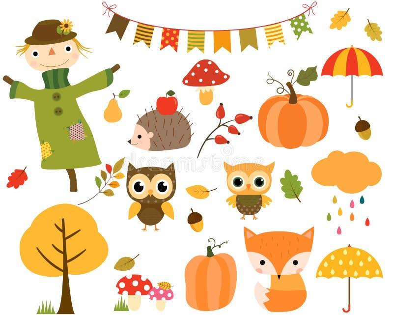Jesień ustawiająca projektów elementy i kreskówek zwierzęta ilustracji