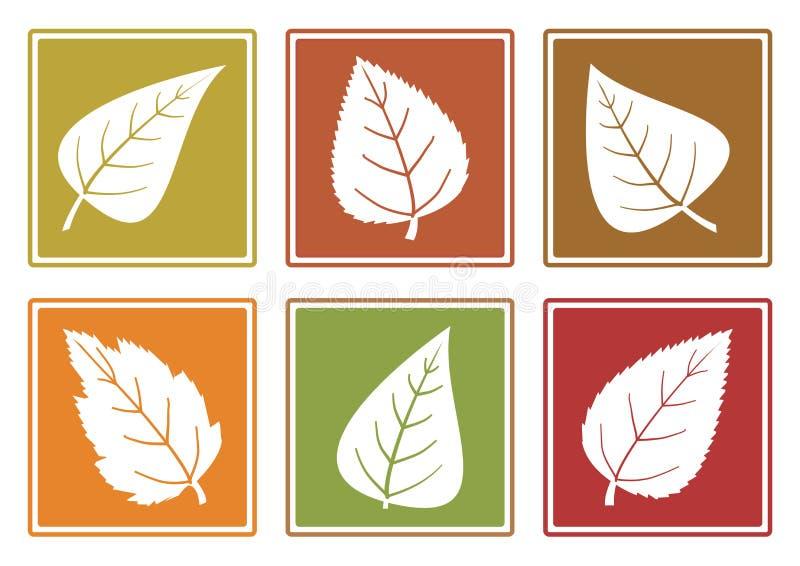 Jesień ustawiająca różne liść ikony r?wnie? zwr?ci? corel ilustracji wektora royalty ilustracja