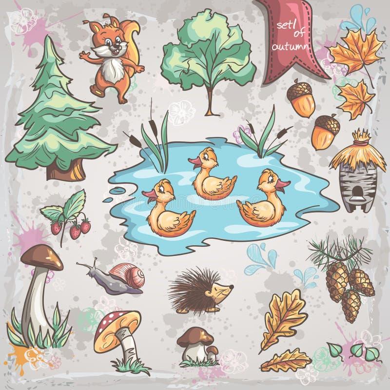 Jesień ustawiająca wizerunki drzewa, zwierzęta, grzyby dla dzieci Set 1 ilustracja wektor