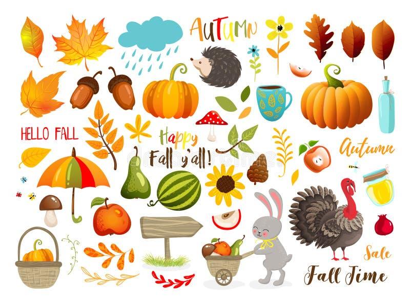 Jesień ustawiająca z ręka rysującymi elementami Kaligrafia, spadków liście, zwierzęta i inny, 10 eps ilustracyjny os?ony wektor royalty ilustracja