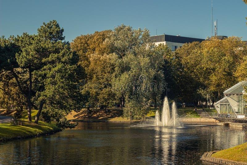 Jesień w środkowym jawnym parku w Ryskim, Latvia zdjęcia royalty free