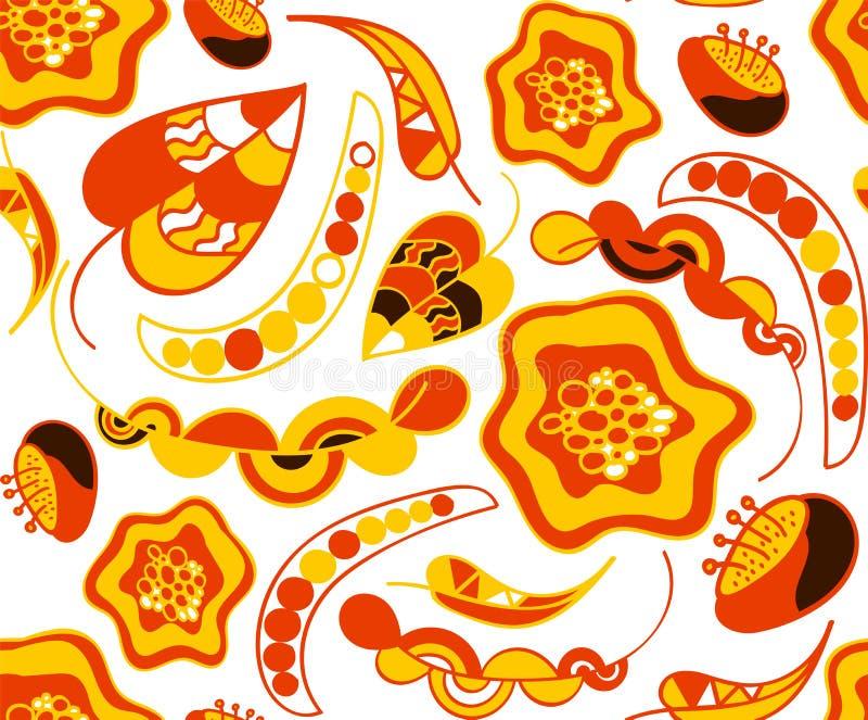 Jesień w ciepłych kolorów bezszwowym wzorze royalty ilustracja