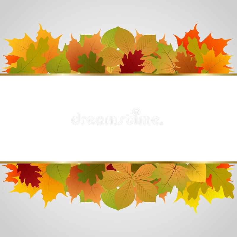 Jesień wektorowy plakatowy projekt z kolorowymi jesień liśćmi i miejsce dla twój teksta dla sezonu jesiennego zakupy promocji ilustracji