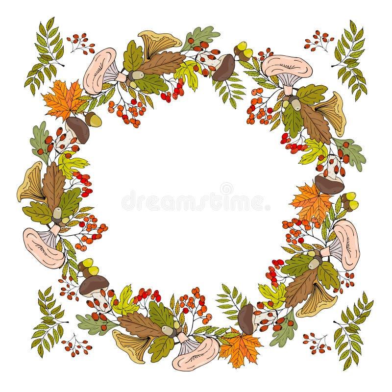 Jesień wianek lasowe pieczarki, jesień liście i jagody, royalty ilustracja