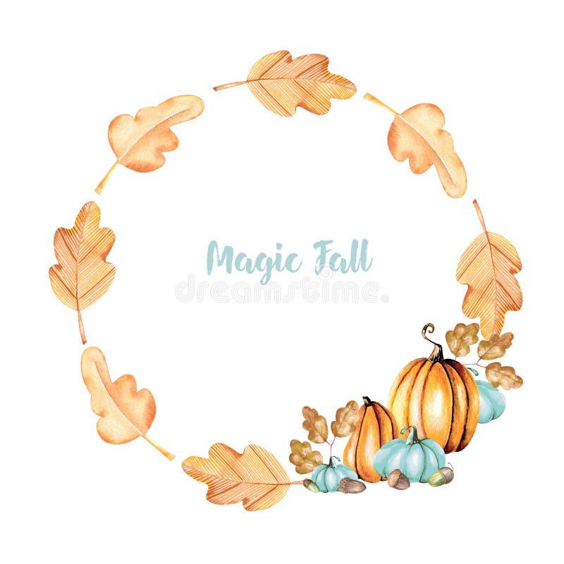 Jesień wianek z akwareli baniami, acorns i dębów liśćmi, ilustracji