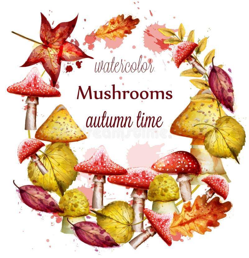 Jesień wianek z czerwienią Rozrasta się akwarela wektor Sezon jesienny round ramy ilustracji