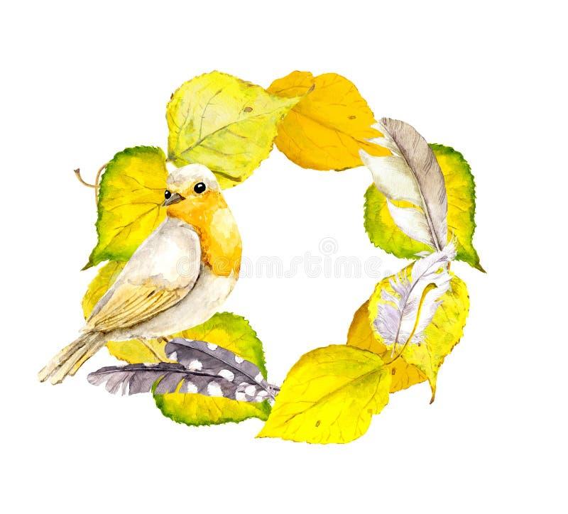 Jesień wianku rama z liśćmi, piórkami i ptakiem koloru żółtego, ilustracji