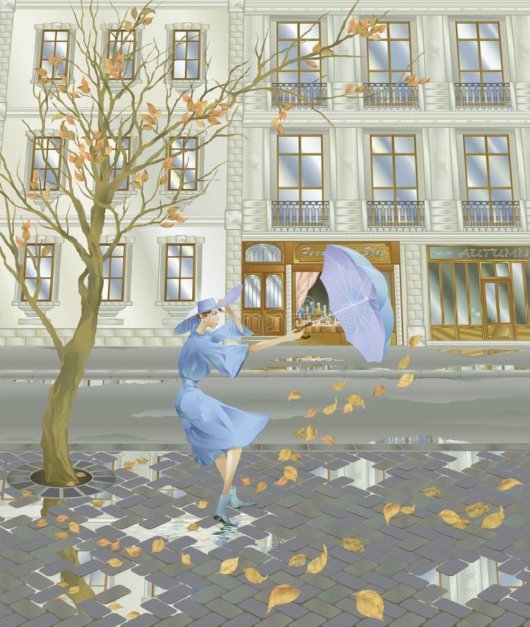 jesień wiatr royalty ilustracja
