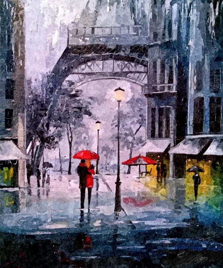 Jesień wieczór w Paryż Malować mokrą akwarelę na papierze Naiwna sztuka Rysunkowa akwarela na papierze ilustracja wektor