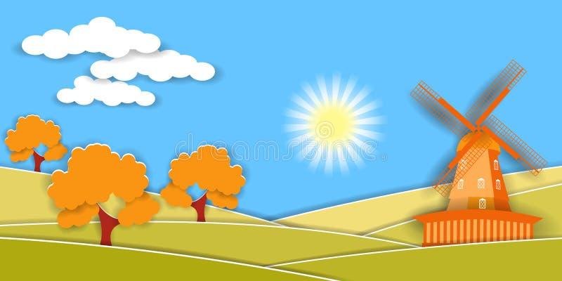 Jesień wiejski krajobraz z wiatraczkiem i owocowymi drzewami Papieru cięcie kształtuje jako wieś projekt i warstwy ilustracja wektor
