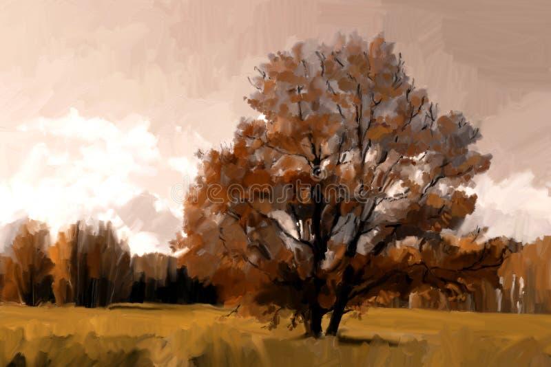 jesień wiejski krajobrazowy ilustracji