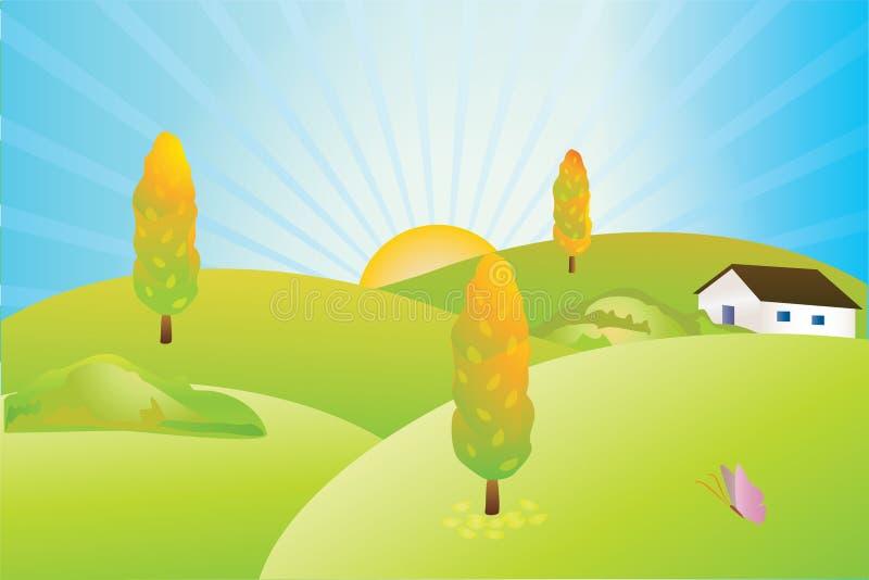 jesień wioska ilustracji