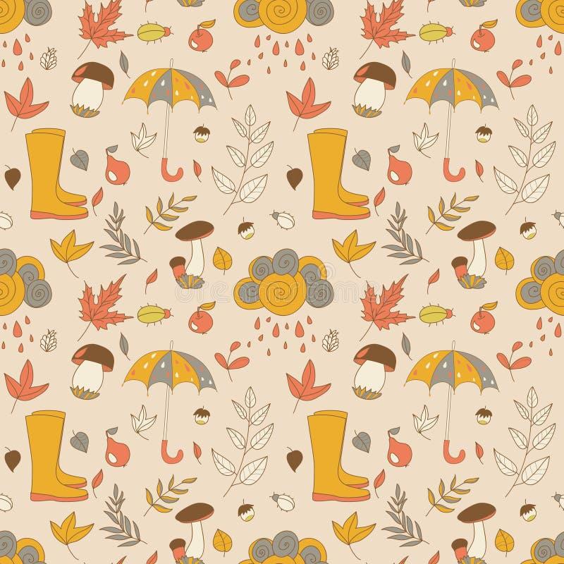 Jesień wzór Bezszwowa tekstura z jesień przedmiotami royalty ilustracja