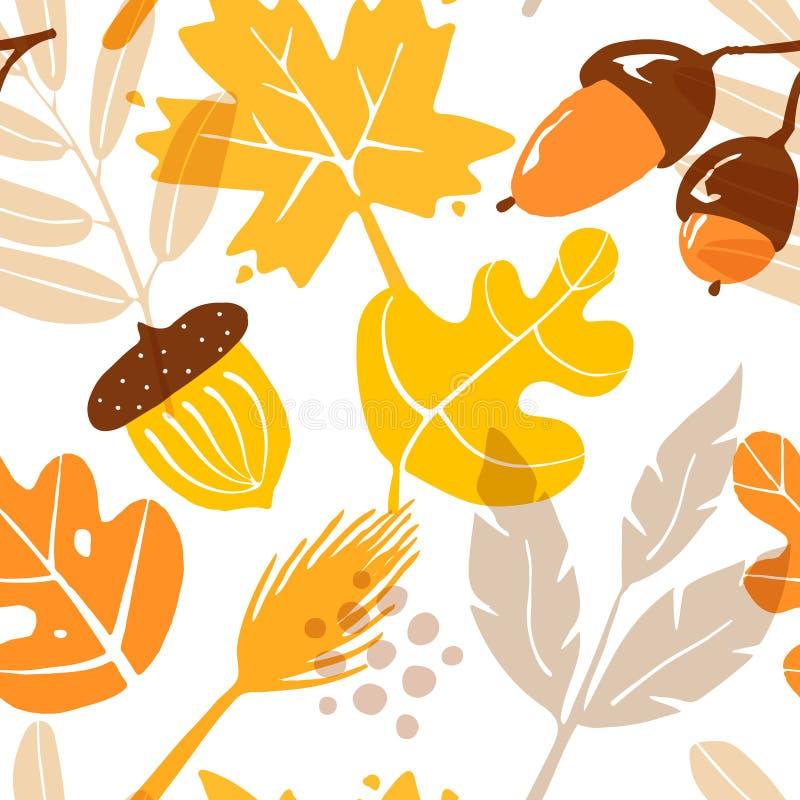 Jesień wzór z liśćmi, acorns i grafika elementami na białym tle, Ornament dla tkaniny i opakowania ilustracji