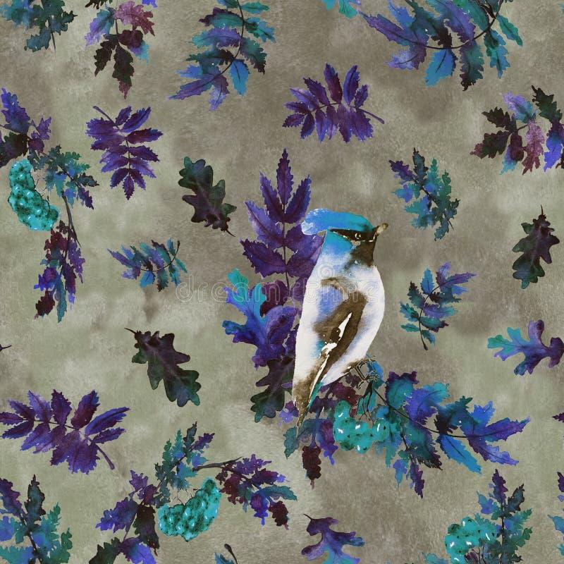 Jesień wzór z ptakami i liśćmi ilustracji
