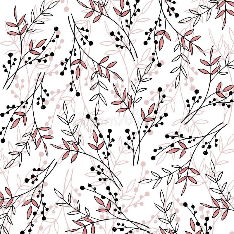 Jesień wzór z roślinami, liśćmi i ziarnami, royalty ilustracja