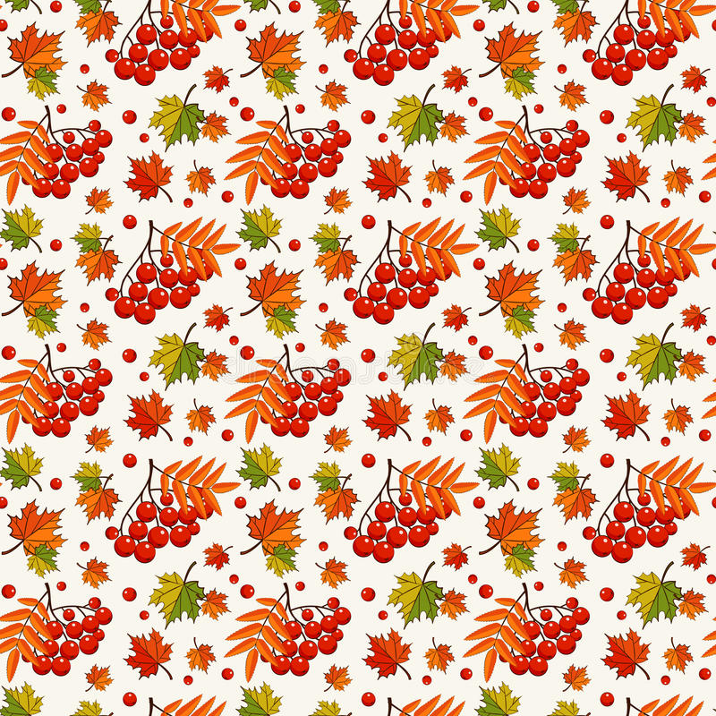 Jesień wzór z rowan jagodami tło bezszwowy wektora ilustracji