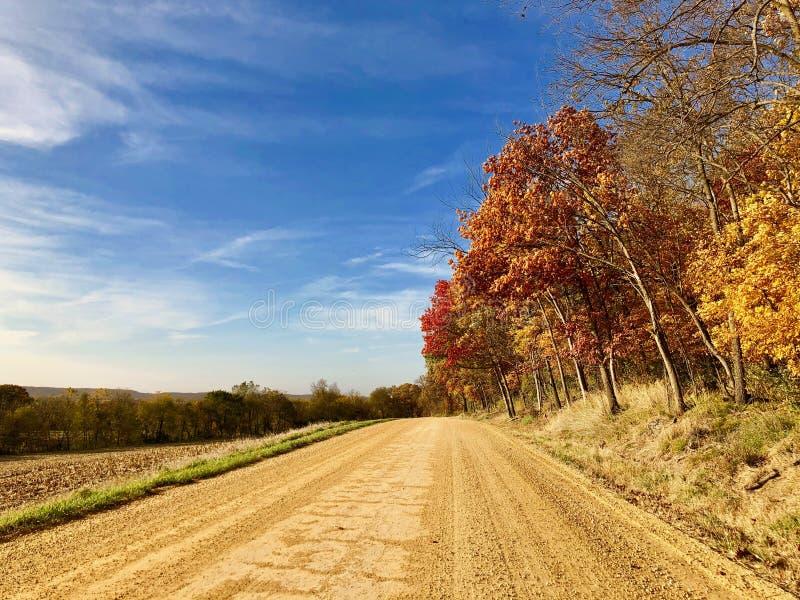 Jesień wzdłuż długiej długiej rzecznej dolinnej drogi zdjęcie stock