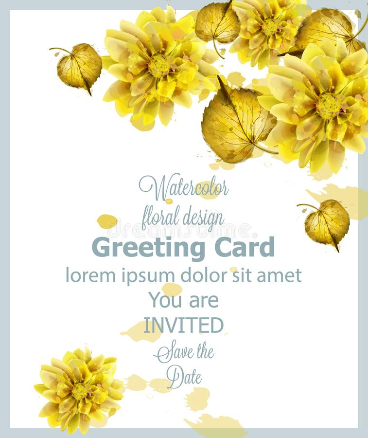 Jesień złotych liści akwareli karciany wektor Rocznik kartki z pozdrowieniami, zaproszenie, dziękuje ciebie, oprócz daktylowej po royalty ilustracja