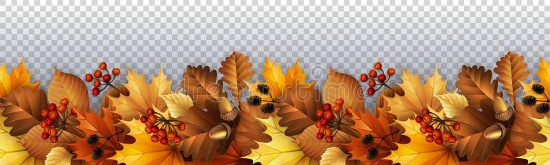 Jesień z liśćmi, jagodami i rożkami, ilustracja wektor