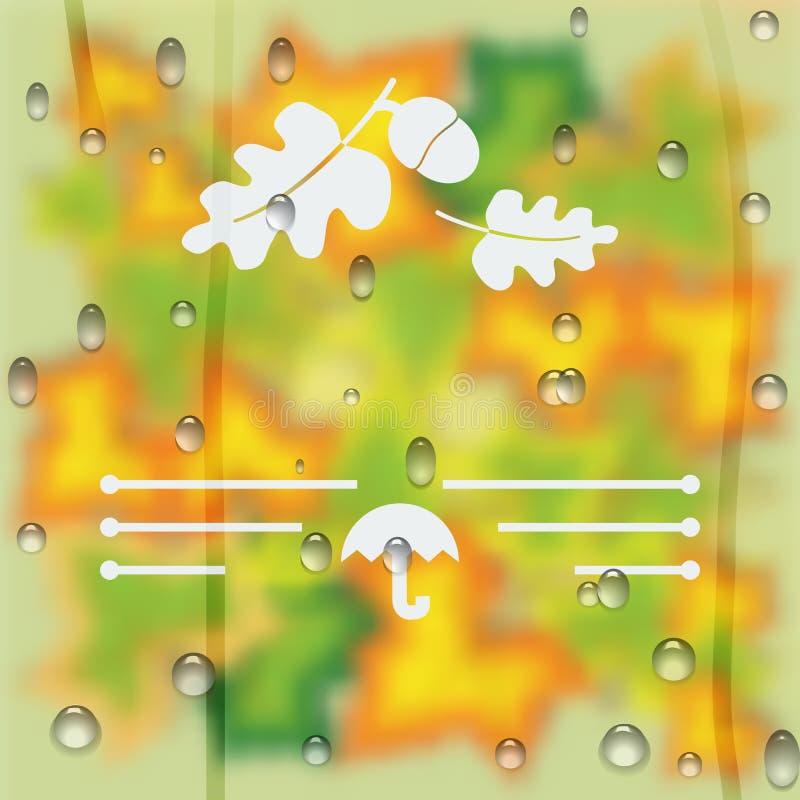 Jesień zamazujący tło kolor żółty opuszcza w postaci szkła z raindrops royalty ilustracja