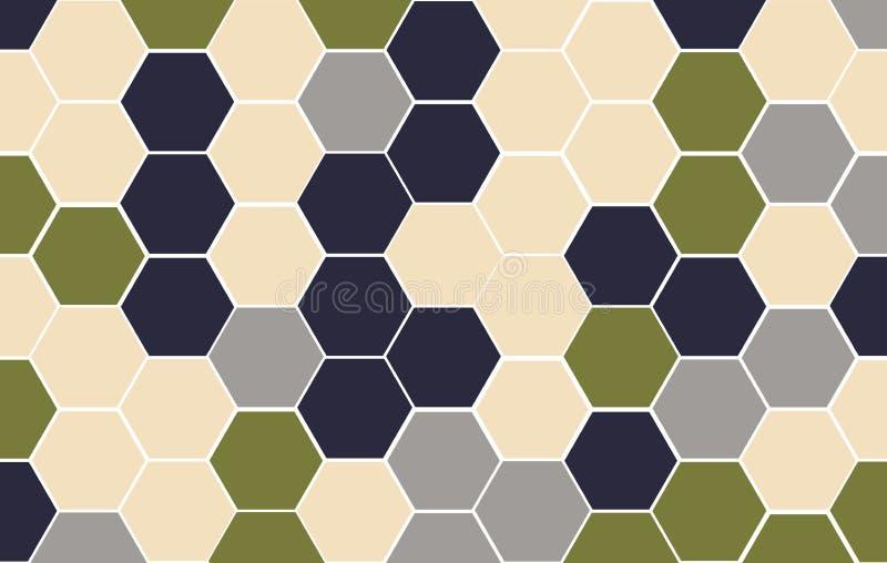 Jesień, zima 2019/2020, kolor palety brzmienie Honeycomb siatki płytki przypadkowy tło Multicolor lub kolorowa Heksagonalna komór ilustracja wektor