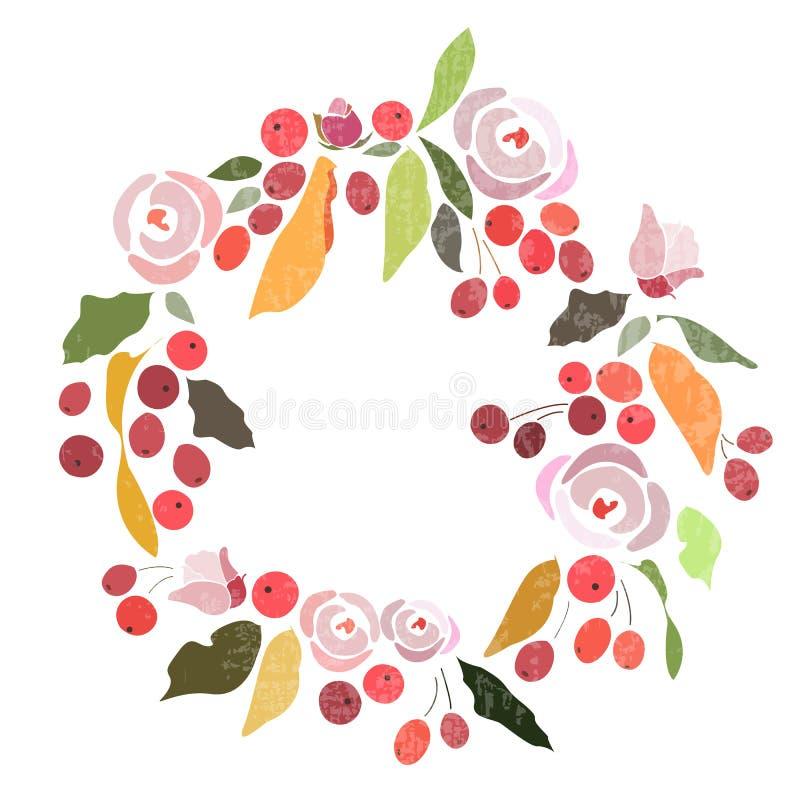 Jesień, zima poślubia kwiecistego wianek z kwiatami/ ilustracja wektor