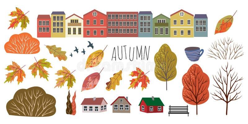 Jesie? Śliczni płascy przedmioty odosobneni liście, domy, drzewa i krzaki na białym tle, TARGET688_1_ r?k? ilustracji