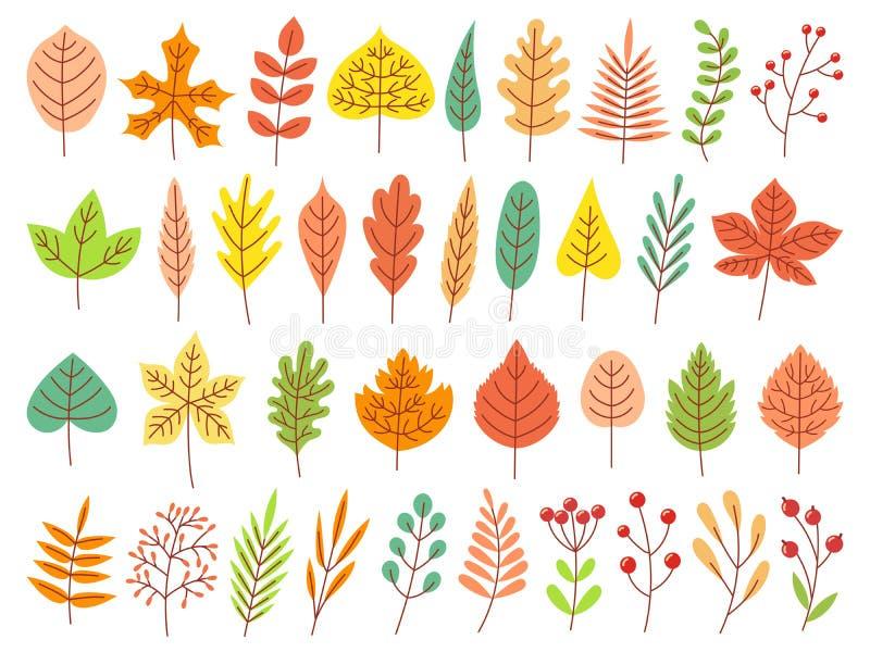 Jesie? li?cie Żółty jesienny ogrodowy liść, czerwony spadku liść i spadać suchych liści wektoru płaski set, royalty ilustracja
